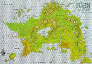 "This beautiful color map (22"" x 34"" printed) covers an area of approximately 600 x 900 miles, including the entire island of Hârn and numerous nearby smaller islands. It depicts the full range of terrain types as well as civilized areas. All castles, keeps, and cities are indicated, as are major roads. The map is overlaid with a 25-league square grid and a 5-league hex grid for easy reference."